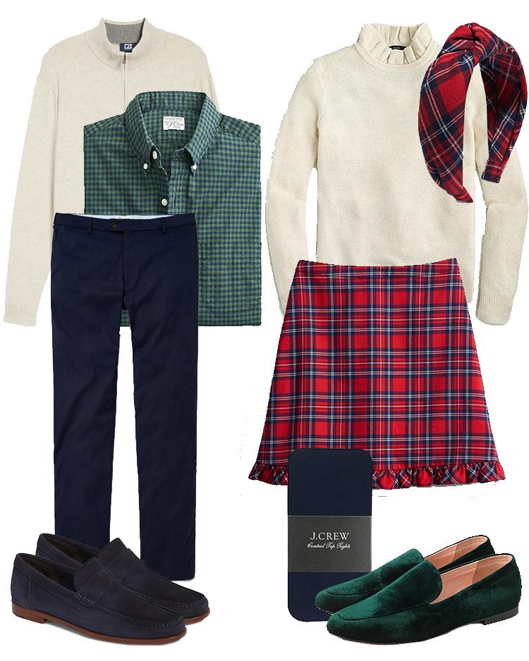 christmas card outfit ideas, engagement photo outfit ideas, tartan skirt, tartan headband, j.crew christmas, draper james