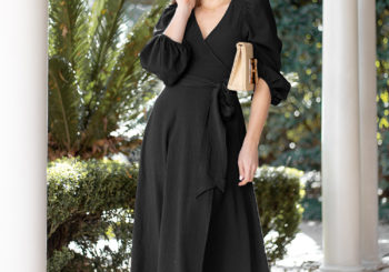 a classic black wrap dress