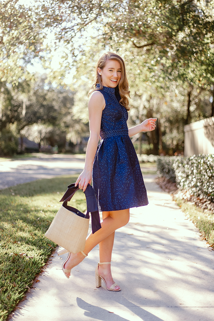 lilly pulitzer after party sale, navy cocktail dress, pamela munson bow bag