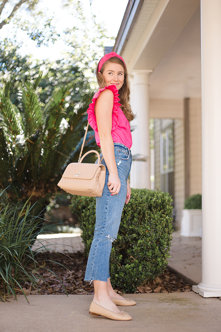 english factory pink ruffle sleeve top, abercrombie high waist jeans, coco chanel top handle, pink lele sadoughi headband