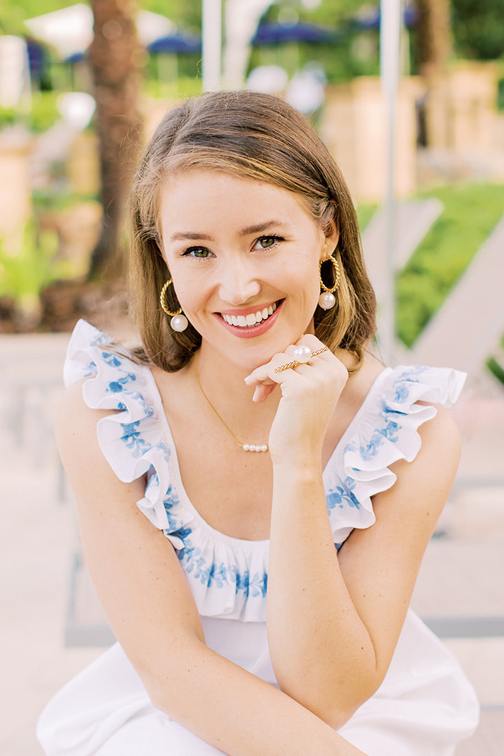 pearl hoop earrings, dainty pearl necklace, pearl cocktail ring, kate bowman accessory junkie collection, mi golondrina dress