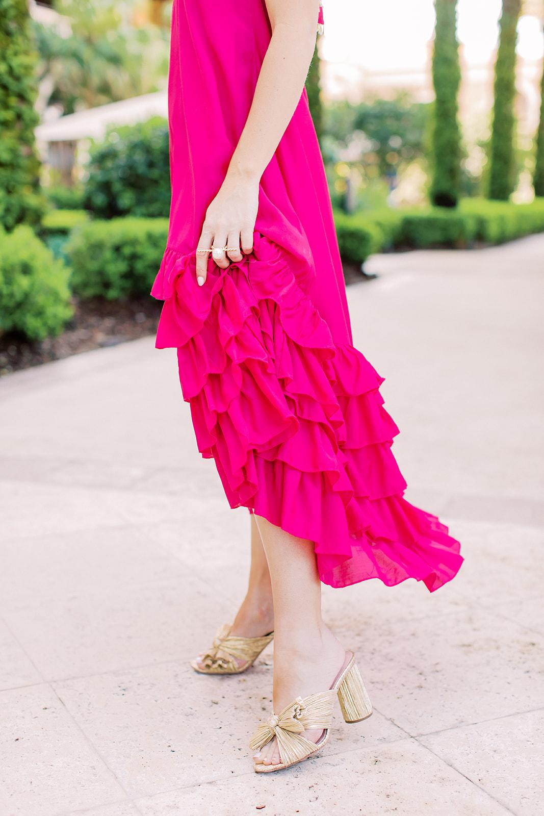 hot pink maxi dress, gold knot necklace, gold hoop earrings, gold loeffler randall penny heels
